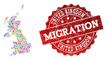 People migration traffic combination of mosaic map of United Kingdom and dirty seal stamp. Mosaic map of United Kingdom is constructed with different colorful arrows and persons. Stockfoto