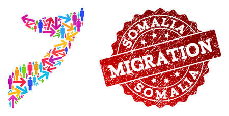 People migration traffic collage of mosaic map of Somalia and textured seal stamp. Mosaic map of Somalia is designed with different multicolored arrows and people.