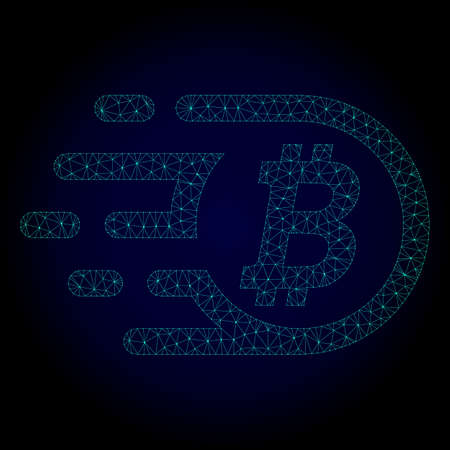 Glossy bitcoin polygonal illustration. Abstract mesh lines, triangles and points on dark background with bitcoin. Wire frame 2D mesh polygonal line network in vector format on a dark blue background.