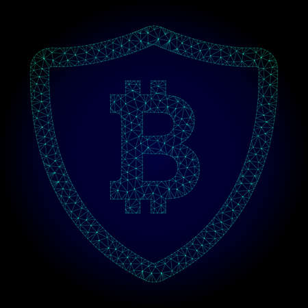Glossy bitcoin shield polygonal illustration. Abstract mesh lines, triangles and points on dark background with bitcoin shield. Illustration