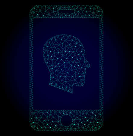 Glossy cellphone profile polygonal illustration. Abstract mesh lines, triangles and points on dark background with cellphone profile.