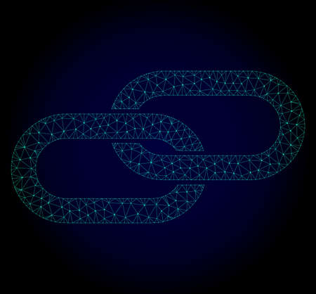 Glossy chain polygonal illustration. Abstract mesh lines, triangles and points on dark background with chain. Wire frame 2D mesh polygonal line network in vector format on a dark blue background.