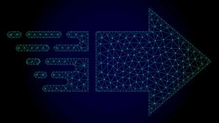 Illustrazione di spostamento poligonale a destra con effetto di velocità rapida. Linee di maglia astratte, triangoli e punti su sfondo scuro con movimento a destra progettato per l'estratto moderno con simboli di velocità, fretta,