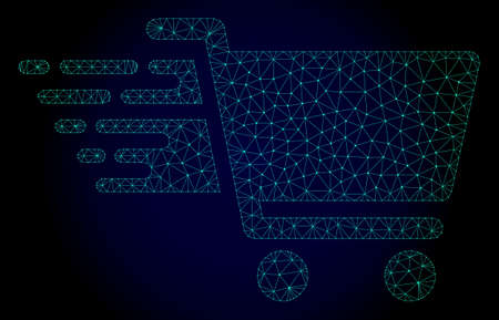 Polygonal shopping cart illustration with fast speed effect. Abstract mesh lines, triangles and points on dark background with shopping cart designed for modern abstract with symbols of speed, rush,