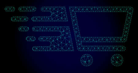 Polygonal shopping cart illustration with fast speed effect. Abstract mesh lines, triangles and points on dark background with shopping cart designed for modern abstract with symbols of speed, rush, Stock Illustratie