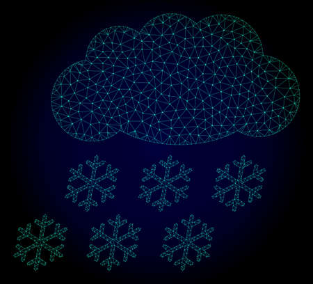 Mesh snow cloud polygonal illustration. Abstract mesh lines, triangles and points on dark background with snow cloud. Wire frame 2D polygonal line network in vector format on a dark blue background.