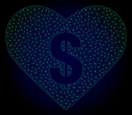 Mesh love price polygonal illustration. Abstract mesh lines, triangles and points on dark background with love price. Wire frame 2D polygonal line network in vector format on a dark blue background. Illustration