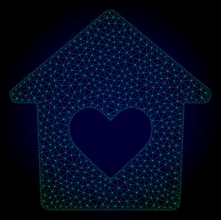 Mesh lovely house polygonal illustration. Abstract mesh lines, triangles and points on dark background with lovely house.