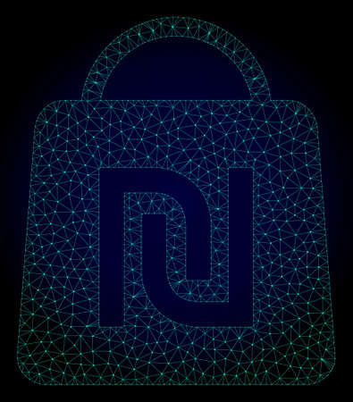 Mesh shekel shopping bag polygonal illustration. Abstract mesh lines, triangles and points on dark background with shekel shopping bag.