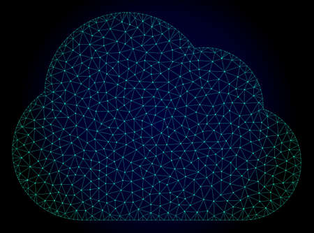 Mesh cloud polygonal illustration. Abstract mesh lines, triangles and points on dark background with cloud. Wire frame 2D polygonal line network in vector format on a dark blue background.