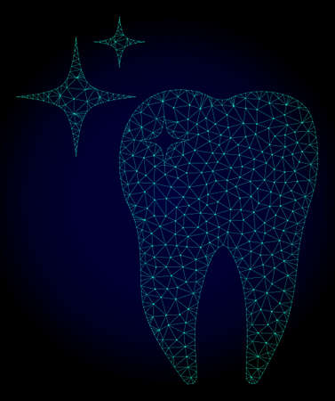Mesh excellent tooth polygonal illustration. Abstract mesh lines, triangles and points on dark background with excellent tooth.