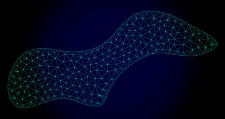 Mesh spot polygonal illustration. Abstract mesh lines, triangles and points on dark background with spot. Wire frame 2D polygonal line network in vector format on a dark blue background. Illustration