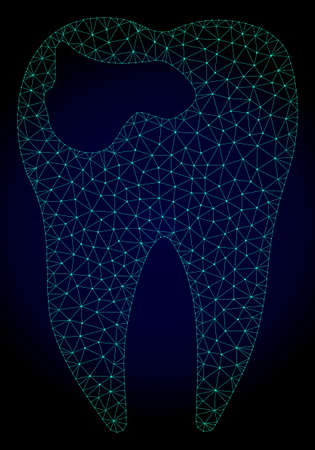 Mesh tooth caries polygonal illustration. Abstract mesh lines, triangles and points on dark background with tooth caries.