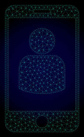 Mesh smartphone user polygonal illustration. Abstract mesh lines, triangles and points on dark background with smartphone user. Illustration