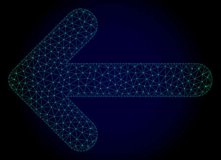 Mesh left arrow polygonal illustration. Abstract mesh lines, triangles and points on dark background with left arrow. Wire frame 2D polygonal line network in vector format on a dark blue background. Vectores
