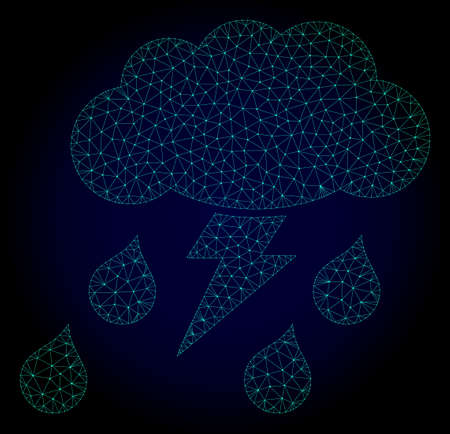 Mesh thunderstorm polygonal illustration. Abstract mesh lines, triangles and points on dark background with thunderstorm.