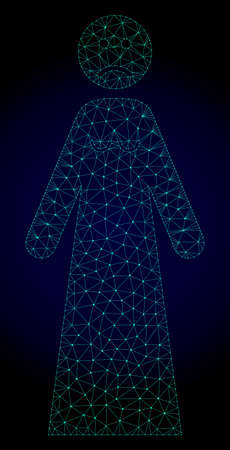 Mesh sad woman polygonal illustration. Abstract mesh lines, triangles and points on dark background with sad woman. Wire frame 2D polygonal line network in vector format on a dark blue background.
