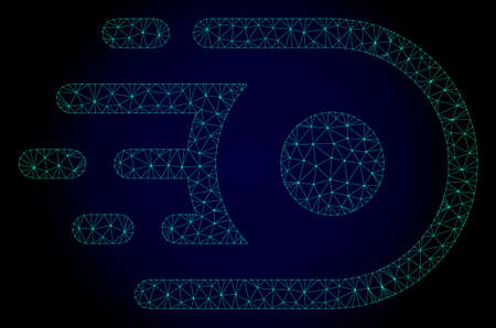 Mesh speed core polygonal illustration. Abstract mesh lines, triangles and points on dark background with speed core. Wire frame 2D polygonal line network in vector format on a dark blue background.
