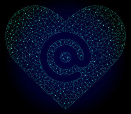 Mesh dating heart address polygonal illustration. Abstract mesh lines, triangles and points on dark background with dating heart address.