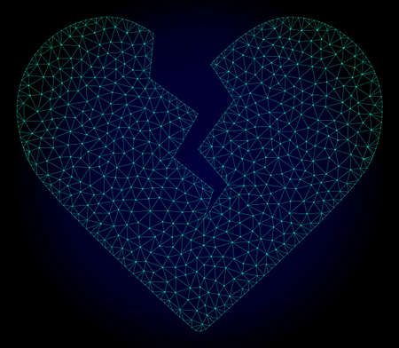 Mesh divorce heart polygonal illustration. Abstract mesh lines, triangles and points on dark background with divorce heart.