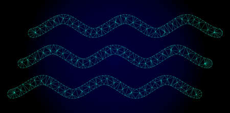 Mesh water waves polygonal illustration. Abstract mesh lines, triangles and points on dark background with water waves. Wire frame 2D polygonal line network in vector format on a dark blue background. Illustration