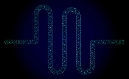 Illustration polygonale de pipeline de maille. Lignes de maillage abstraites, triangles et points sur fond sombre avec pipeline. Réseau de lignes polygonales 2D filaire au format vectoriel sur fond bleu foncé.