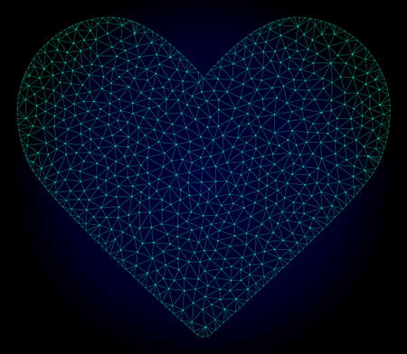 Mesh love heart polygonal illustration. Abstract mesh lines, triangles and points on dark background with love heart. Wire frame 2D polygonal line network in vector format on a dark blue background.