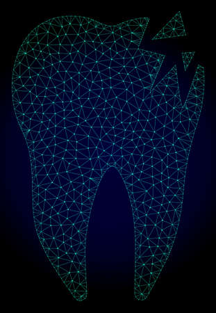 Mesh cracked tooth polygonal illustration. Abstract mesh lines, triangles and points on dark background with cracked tooth.