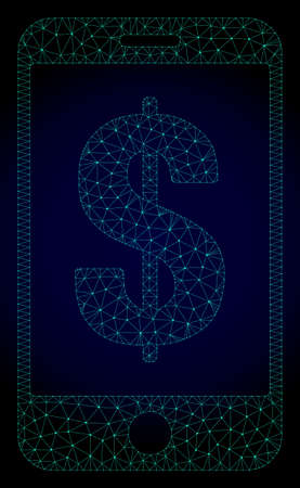 Mesh mobile dollar bank polygonal illustration. Abstract mesh lines, triangles and points on dark background with mobile dollar bank.