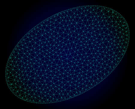 Mesh filled ellipse polygonal illustration. Abstract mesh lines, triangles and points on dark background with filled ellipse.