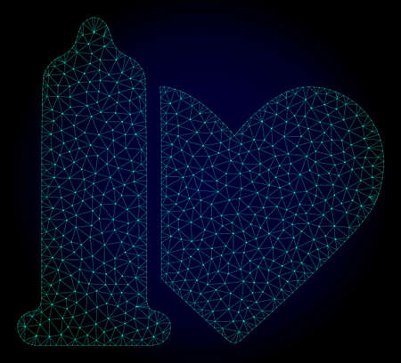 Mesh safe love polygonal illustration. Abstract mesh lines, triangles and points on dark background with safe love. Wire frame 2D polygonal line network in vector format on a dark blue background.