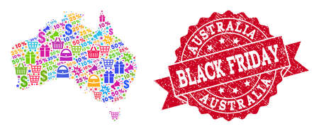 Black Friday combination of mosaic map of Australia and rubber seal. Vector red seal with distress rubber texture with Black Friday caption. Flat design for shopping purposes.