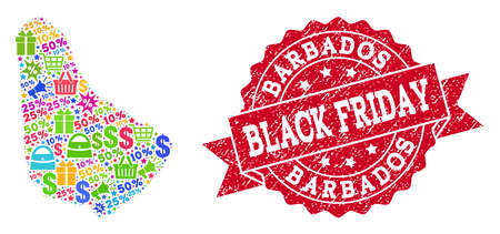 Black Friday collage of mosaic map of Barbados and rubber seal. Vector red seal with grunge rubber texture with Black Friday title. Flat design for sale purposes.