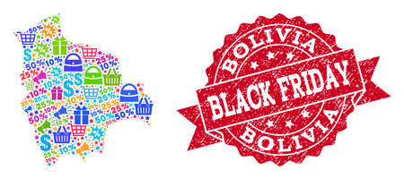 Black Friday combination of mosaic map of Bolivia and rubber stamp seal. Vector red seal with corroded rubber texture with Black Friday text. Flat design for advertisement illustrations.