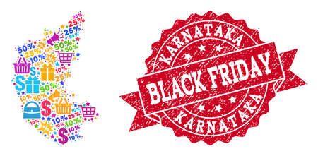 Black Friday composition of mosaic map of Karnataka State and rubber stamp. Vector red imprint with distress rubber texture with Black Friday slogan. Flat design for shopping templates.