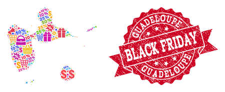 Black Friday composition of mosaic map of Guadeloupe and corroded stamp seal. Vector red watermark with corroded rubber texture with Black Friday caption. Flat design for shopping templates.