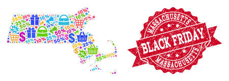 Black Friday composition of mosaic map of Massachusetts State and corroded seal. Vector red seal with distress rubber texture with Black Friday text. Flat design for shopping purposes. Illustration