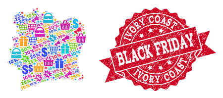 Black Friday collage of mosaic map of Ivory Coast and grunge stamp. Vector red watermark with grunge rubber texture with Black Friday title. Flat design for shopping posters.