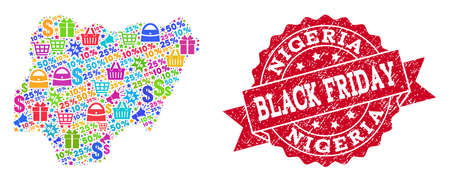 Black Friday composition of mosaic map of Nigeria and rubber stamp seal. Vector red seal with grunge rubber texture with Black Friday slogan. Flat design for trade illustrations.