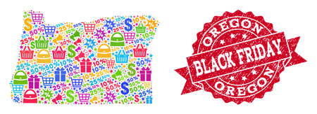 Black Friday combination of mosaic map of Oregon State and rubber stamp. Vector red seal with corroded rubber texture with Black Friday caption. Flat design for trade illustrations.
