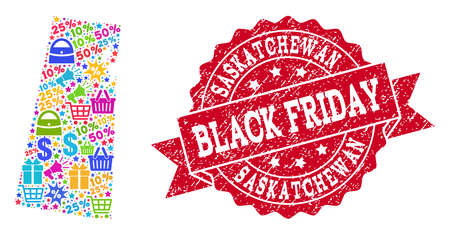 Black Friday combination of mosaic map of Saskatchewan Province and rubber stamp seal. Vector red watermark with corroded rubber texture with Black Friday title. Illustration