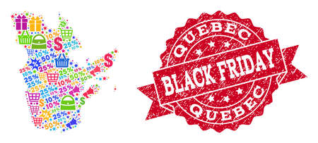 Black Friday combination of mosaic map of Quebec Province and dirty seal. Vector red seal with unclean rubber texture with Black Friday text. Flat design for shopping illustrations.