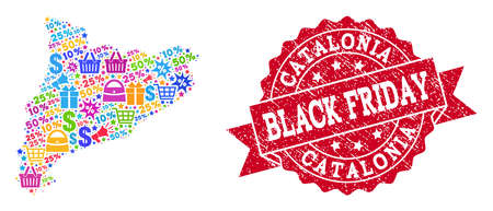 Black Friday collage of mosaic map of Catalonia and corroded seal. Vector red seal with corroded rubber texture with Black Friday caption. Flat design for trade purposes.