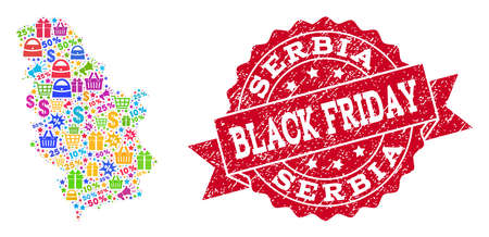 Black Friday composition of mosaic map of Serbia and textured stamp seal. Vector red imprint with scratched rubber texture with Black Friday slogan. Flat design for shopping templates.