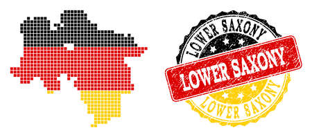 Pixelated map of Lower Saxony State and stamp seal. Dotted map of Lower Saxony State has German flag colors. Vector rubber watermark has official colors of Germany flag. Stock Illustratie