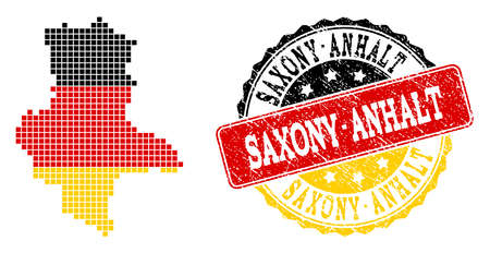 Pixelated map of Saxony-Anhalt State and stamp seal. Dotted map of Saxony-Anhalt State has German flag colors. Vector rubber watermark has official colors of Germany flag. Stock Illustratie
