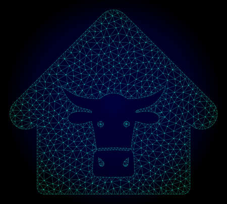Mesh cow farm polygonal illustration. Abstract mesh lines, triangles and points on dark background with cow farm. Wire frame 2D polygonal line network in vector format on a dark blue background.