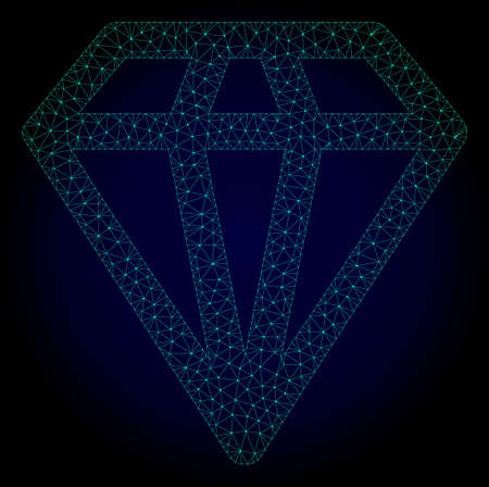 Mesh diamond polygonal illustration. Abstract mesh lines, triangles and points on dark background with diamond. Wire frame 2D polygonal line network in vector format on a dark blue background.