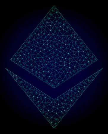 Mesh crystal polygonal illustration. Abstract mesh lines, triangles and points on dark background with crystal. Wire frame 2D polygonal line network in vector format on a dark blue background.