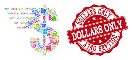 Trading collage of dollar mosaic and textured stamp seal. Mosaic dollar collage is constructed with colored shopping bags, carts, dollars, discount percents, gifts, announces.